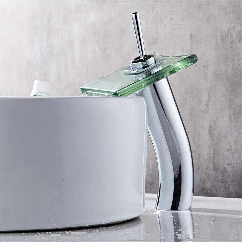 YAWEDA Copper Basin Faucet Bathroom Sink Faucet Cold Water Mixer Glass Waterfall Faucet Bathroom Faucet Bathroom Faucet Single Handle Chrome-Plated Polishing