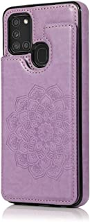 MOONCASE Capa para Samsung Galaxy A21s, Suave Couro PU Magnéticos Botões Padrão de Mandala À Prova de Choque Flip Carteira...