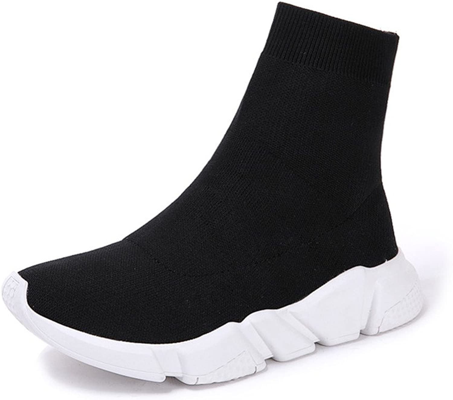 SAMSAY Women's Breathable Lightweight Slip-on Socks Boots Outdoor Casual Sneakers Walking shoes Black