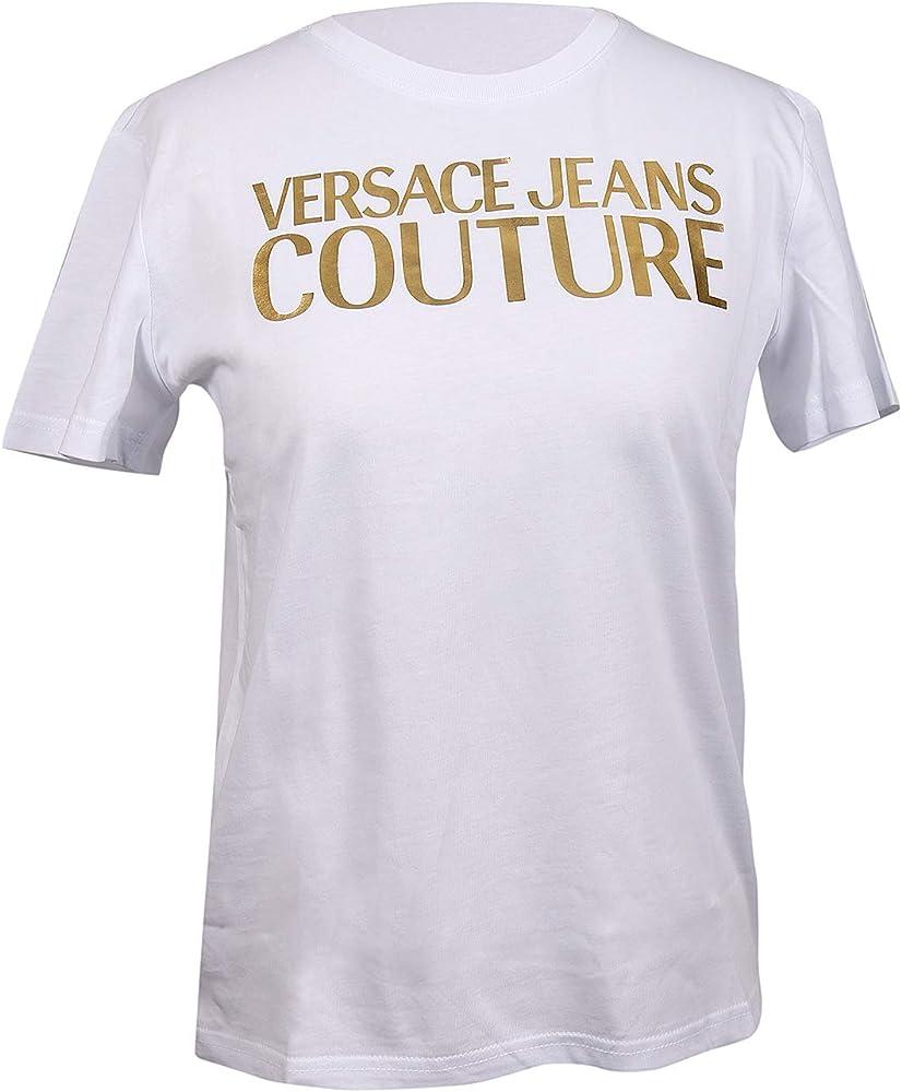 Versace jeans couture, t-shirt, maglietta da uomo a maniche corte, con logo stampato, 100% cotone, taglia M B2HUA7GT