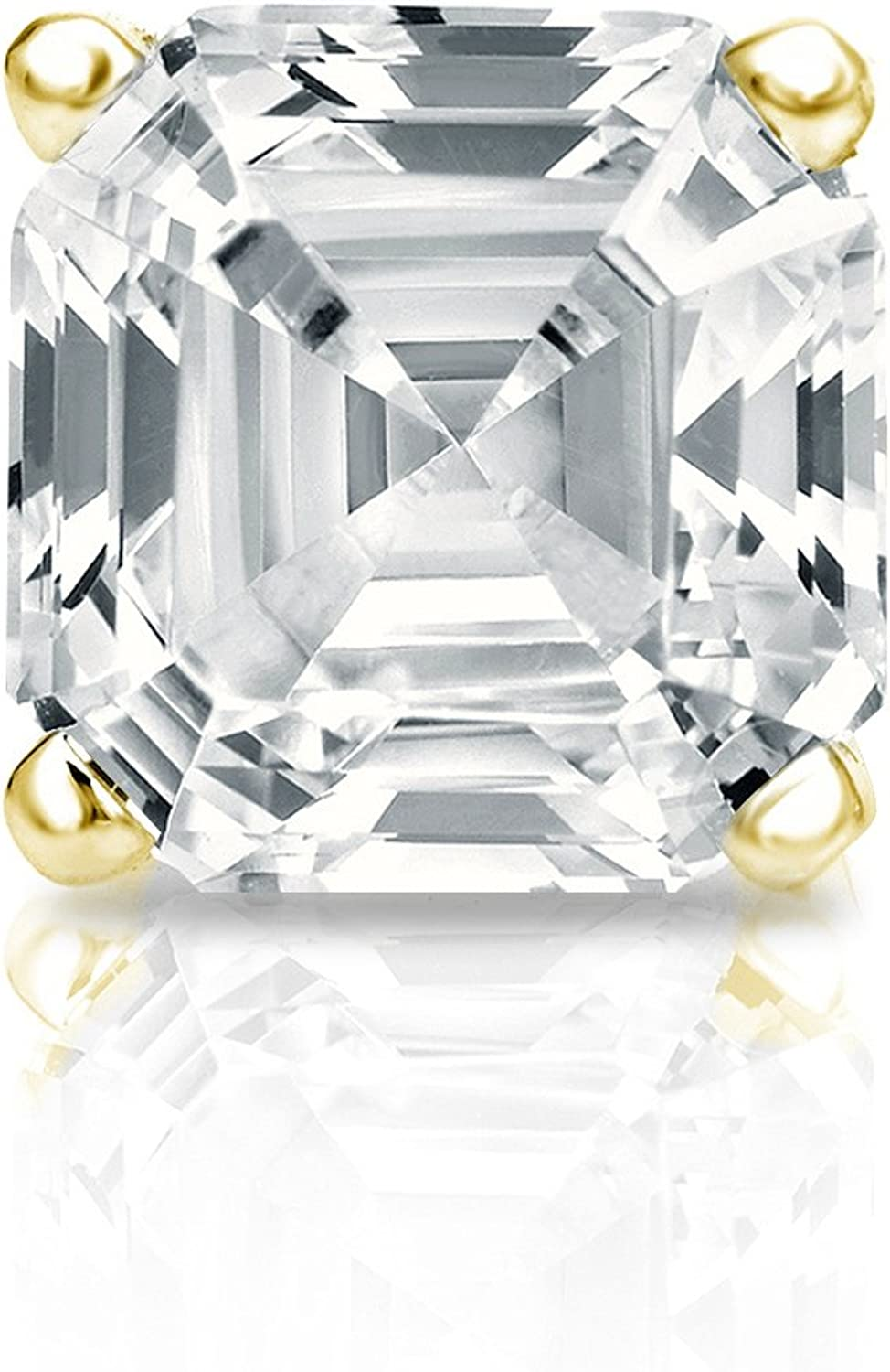 14k Gold 4-Prong Basket Asscher Recommendation New Shipping Free Shipping Diamond Earring STUD 4 1 SINGLE