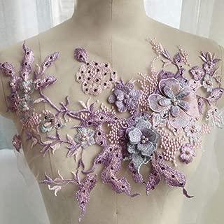 dezirZJjx Embroidery Lace Applique, 3D Flower Floral, Bead Rhinestone Tulle DIY Wedding Dress Decor Purple + Pink