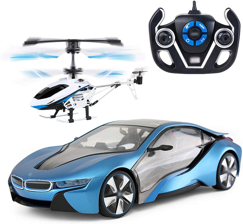 Auto Fernbedienung Auto Hubschrauber Kombination Set Kinder Spielzeug Racing (Farbe   Blau)