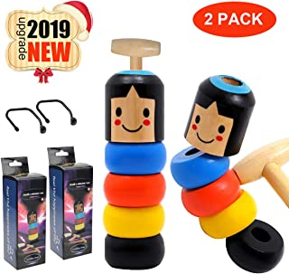 Unbreakable Wooden Man Magic Toy, Stubborn Wood Man Magic Tricks Props Toys Children Kids Magia Easy Doing Best Gift for Christmas Party(2 Pack)