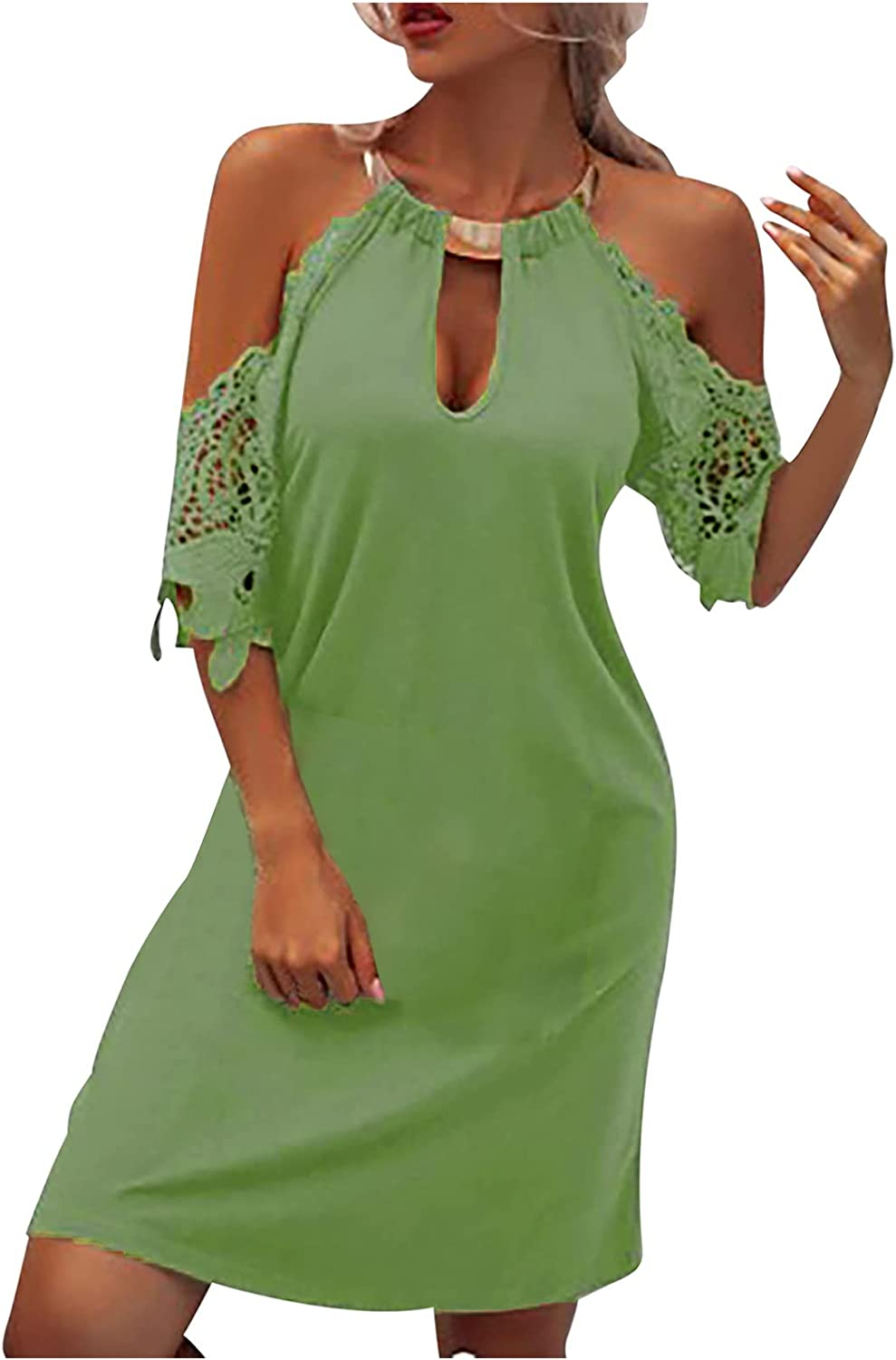 Dress for Women,Solid Color O-Neck Halter Lace Short Sleeve Summer Sexy Slim Comfy Mini Dress