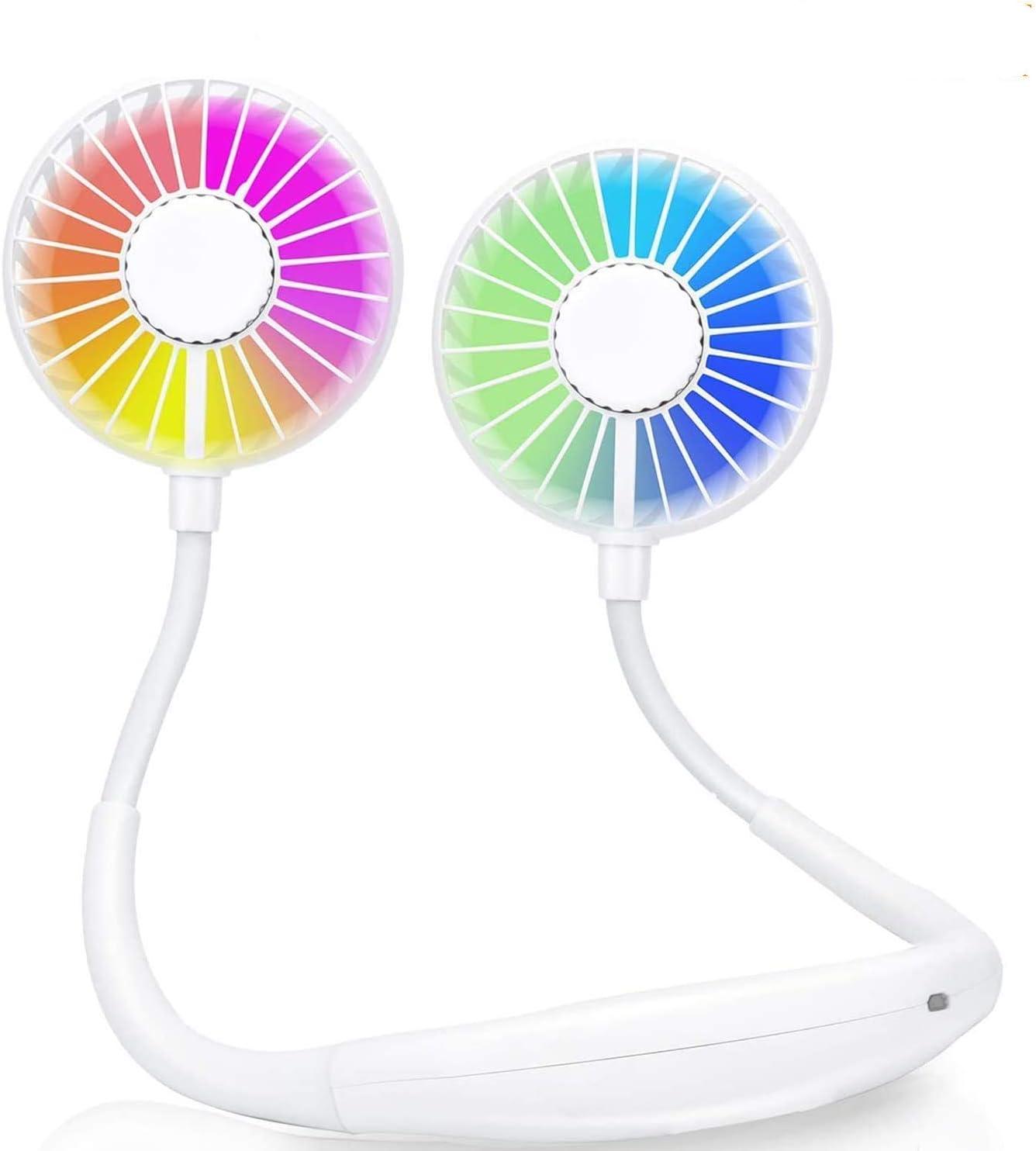2600MAH Ventilador de Cuello, Ventilador Cuello, USB Recargable Ventilador Portatil, 3 velocidades, rotación Libre de 360 °, luz LED, para Coche Deporte Oficina Hogar Viajar Acampar (Blanco)