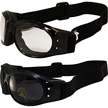 Two Pairs Birdz Eagle Red Baron Style Motorcycle Padded Airsoft Goggles Clear & Super Dark Lens for Day and Night Riding Comfort You Should Have Goggles for Any Weather Condition