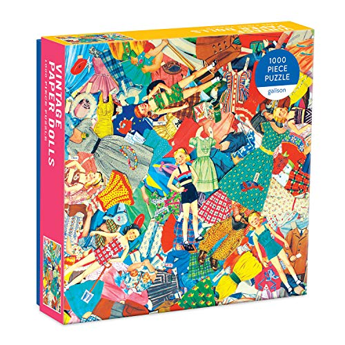 """Galison Vintage Paper Dolls Puzzle, 1,000 Pieces, 27"""" x 20"""" – Jigsaw Puzzle Featuring a Colorful Collage of Paper Dolls – Thick, Sturdy Pieces, Challenging Family Activity, Great Gift Idea, Multicolor"""