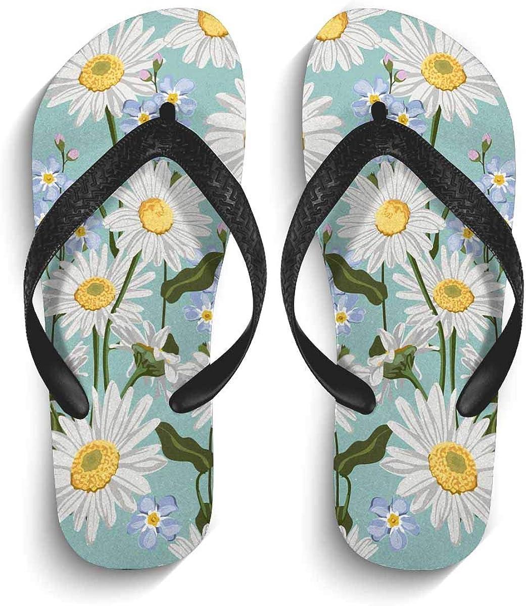 INTERESTPRINT Men's Non-Slip Flip Flops Cat or Dog Paw Animal Footprint and Bones Thongs Sandals for Beach Lounging Home