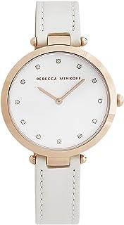 Rebecca Minkoff Women's Nina Stainless Steel Quartz Watch with Leather Calfskin Strap, White, 13 (Model: 2200400)