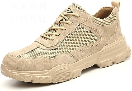 Bottes de travail Chaussures de travail pour hommes, chaussures de travail légères et confortables, chaussures de travail tout au long de la saison quatre saisons, chaussures de sécurité en peau de po