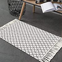 MUBIN 2'x3' Moroccan Cotton Woven Geometric Boho Rug with Tassel
