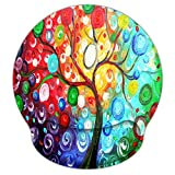 Colorful Tree 9 x 10 Inches Ergonomic Memory Foam Mouse Pad with Wrist Rest, Non-Slip Personality Laser Mouse Pad Mat, Pain Relief Computer Office Desk Mouse Pad for Men Women by AORTDES (WRP-07)