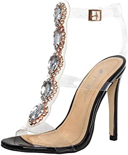 Onlymaker Womens Ankle Strap Buckle Cutout Gem Clear Stiletto High Heels Gladiator Transparent Strip Sandals with Rhinestones