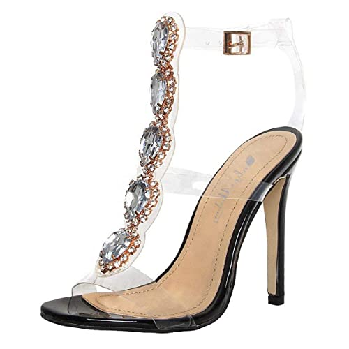 4481c230a1e onlymaker Womens Ankle Strap Buckle Cutout Gem Clear Stiletto High Heels  Gladiator Transparent Strip Sandals with