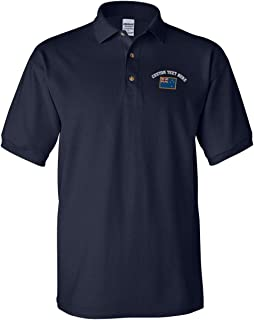 Custom Text Embroidered New Zealand Men's Adult Button-End Spread Short Sleeve Cotton Polo Shirt Golf Shirt - Navy, X Large