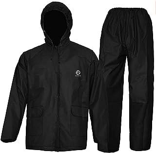 بدلة مطر للرجال والنساء، ملابس رياضية متينة مقاومة للماء (أسود، S)