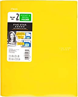 Five Star Plastic Folder with Prongs 2 Pockets (Yellow)