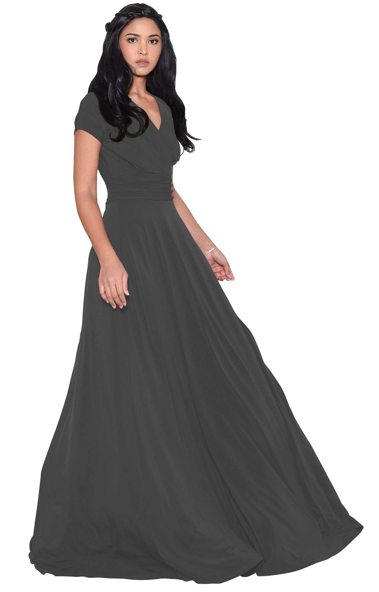 Mother Of The Bride Dresses - Womens Sexy Cap Short Sleeve V-Neck Flowy Cocktail Gown