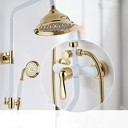Ali@ European Style Shower Set All Bronze White gold Hot And Cold Lift Up And Down Retro Shower ( Size   B )