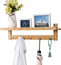 LANGRIA Wall-Mounted Coat Hook Bamboo Wooden Coat Rack and Hook Rack with 5 Metal Hooks and Upper Shelf for Storage Scandinavian Style for Hallway Bathroom Living Room Bedroom, Bamboo Color