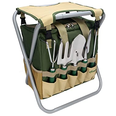 Yodo 7 Piece Garden Tools Set for Men & Women - Heavy Duty Folding Stool Tote Bag and Stainless Steel Gardening Tools includes Trowel Rake Cultivator