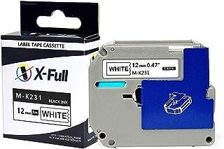 Fita para Rotulador 12mm x 8m Branco/Preto Marca X-Full Referência M-K231 M231 MK231 para PT-80 PT-70