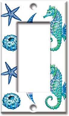 Art Plates Brand Single Gang Rocker Switch/Wall Plate - Colorful Seahorse & Shells