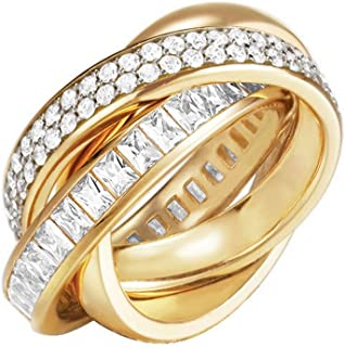 ESPRIT Glamour Women's Ring-It TRIDELIA GOLD Partially Gold-Plated with Cubic Zirconia Clear ESRG02258B1 gold