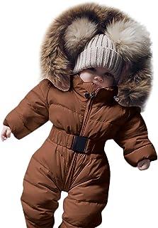 Walabe Vetement Bebe Garcon/Fille Naissance Combinaisons Hiver Doudoune Manteau Body Barboteuse à Capuche Chaud Enfant Sno...