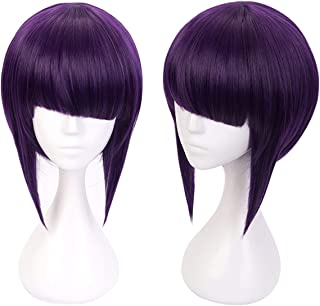 Ani·Lnc Short Black Purple Mixed Hair Synthetic Cosplay Wigs with free Cap