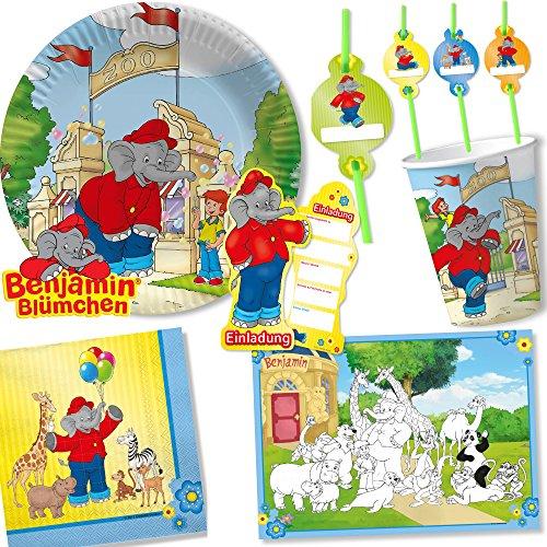 108-tlg. PARTY SET * BENJAMIN BLÜMCHEN * für Kindergeburtstag mit Teller + Becher + Papier-Trinkhalme + Servietten + Einladungen + Tischsets + Luftschlangen + Ballons + uvm | Kinder Geburtstag Deko