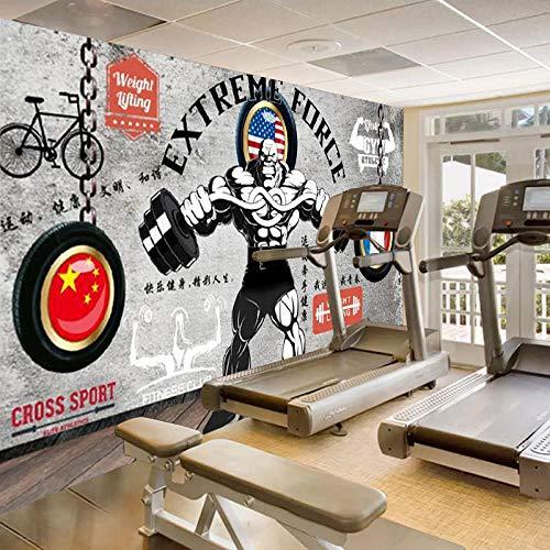 Ksnrang Personalidad Creativa nostálgica Pintada a Mano Graffiti Retro Gym Wallpaper Deportes Wallpaper Sala de Artes Marciales estéreo Mural Revestimiento de paredes-350 * 245cm