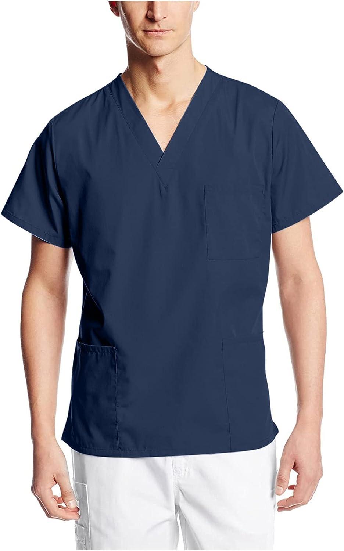 Men's Solid Color Scrub_Top Short Sleeve Nursing T-Shirt Pockets