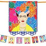 Talking Tables- Guirnalda con Estampado Kahlo-3m Brillantes para cumpleaños, Fiesta, celebración Mexicana del Cinco de Mayo, decoración de Dormitorio Infantil, Color (BOHO-GARLAND-FRIDA)