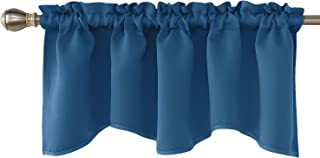 Deconovo Rod Pocket Kitchen Valances Solid Blackout Scalloped Valances for Window 52x18 Inch Dark Blue 1 Panel
