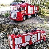 JY&WIN RC Coche eléctrico para niños Control Remoto Camión de Bomberos Aspersor Bombero Modelo de Coche de policía Aspersor de ingeniería de la policía Vehículo Aspersor Camión de Bomberos Luz Músi