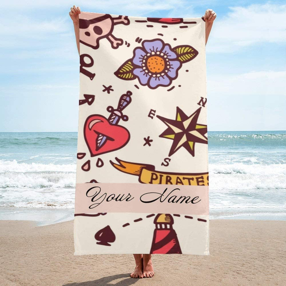 CUXWEOT Personalized Beach Towel with Name Custom Microfiber Pool Towel Blanket 30 x 60 inch Vintage Anchor