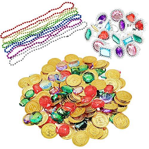BAKHK 300 Stück Goldmünzen, Piraten Schmucksteine und Ringe Halsketten, Piratenschatz Spielzeug, Kinder für Pirate Kindergeburtstag Piratenkiste Piratenparty Partyzubehör Schatzsuche