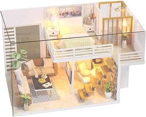 Qian Fei Miniatur-Puppenhaus DIY Mini House Kit mit LED-Leuchten und M l für Geschenkset (Farbe   With Cover)