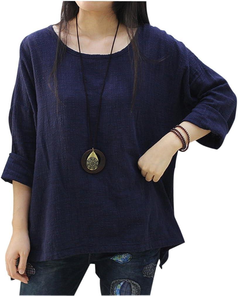 Fall Tops Womens Cotton Linen Tops Shirt OL Casual Long Sleeve Loose Blouse N822