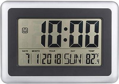 my clock - Reloj Despertador Digital con Pantalla LCD (Funciona con Pilas, Soporte de