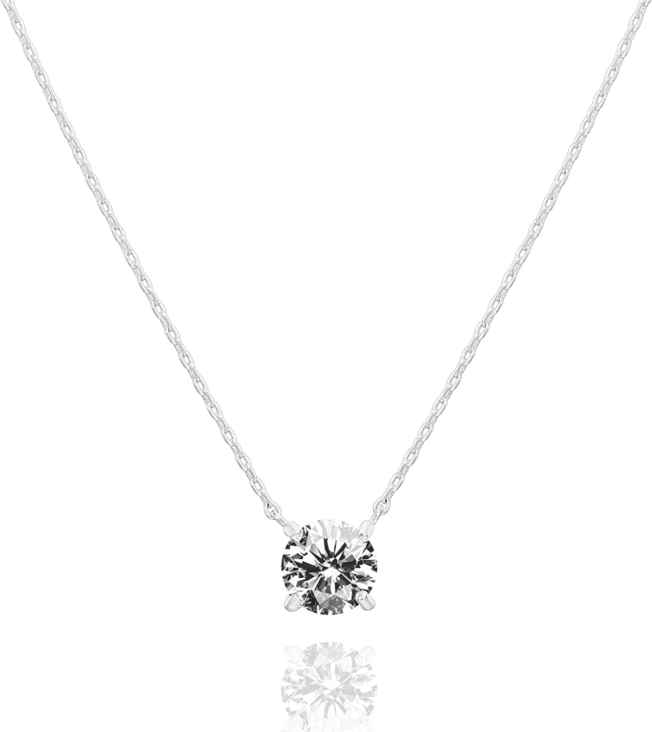 PAVOI 14K Gold Plated Swarovski Crystal Solitaire 1.5 Carat (7.3mm) CZ Dainty Choker Necklace   Gold Necklaces for Women