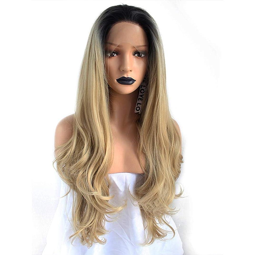 動作平均眠るZXF ヨーロッパとアメリカの化学繊維レディースウィッグフロント芽シルクスクリーンヘアセットリネングラデーションカラーウェーブカーリーヘア高密度イージーケア 美しい (Size : 20 inches)