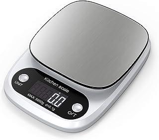 Lefun Küchenwaage Digital, Digitale Küchenwaage 0.1g/Max 5kg Digitalwaage Mit großer Präzision Gramm Waage Und LCD Display Und Tara Function inkl.3 Batterien Silber-0