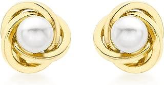 Damen-Ohrstecker 18ct 9mm Knot and Pearl Stud Earrings 750 Gelbgold Rundschliff China-Zuchtperle Weiß - 7.57.3313