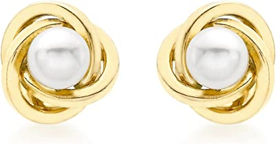 Carissima Gold 9 mm Women's 9 ct Yellow Gold 9 mm Knot and Pearl Stud Earrings