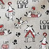 Stoff Meterware Baumwolle natur Hunde schwarz weiß rot