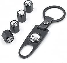 INCART Universal Steel (4pcs) Car Tire Valve Stem Air Caps Cover + (1pcs) Keychain Fashion Style Cool Skull Black