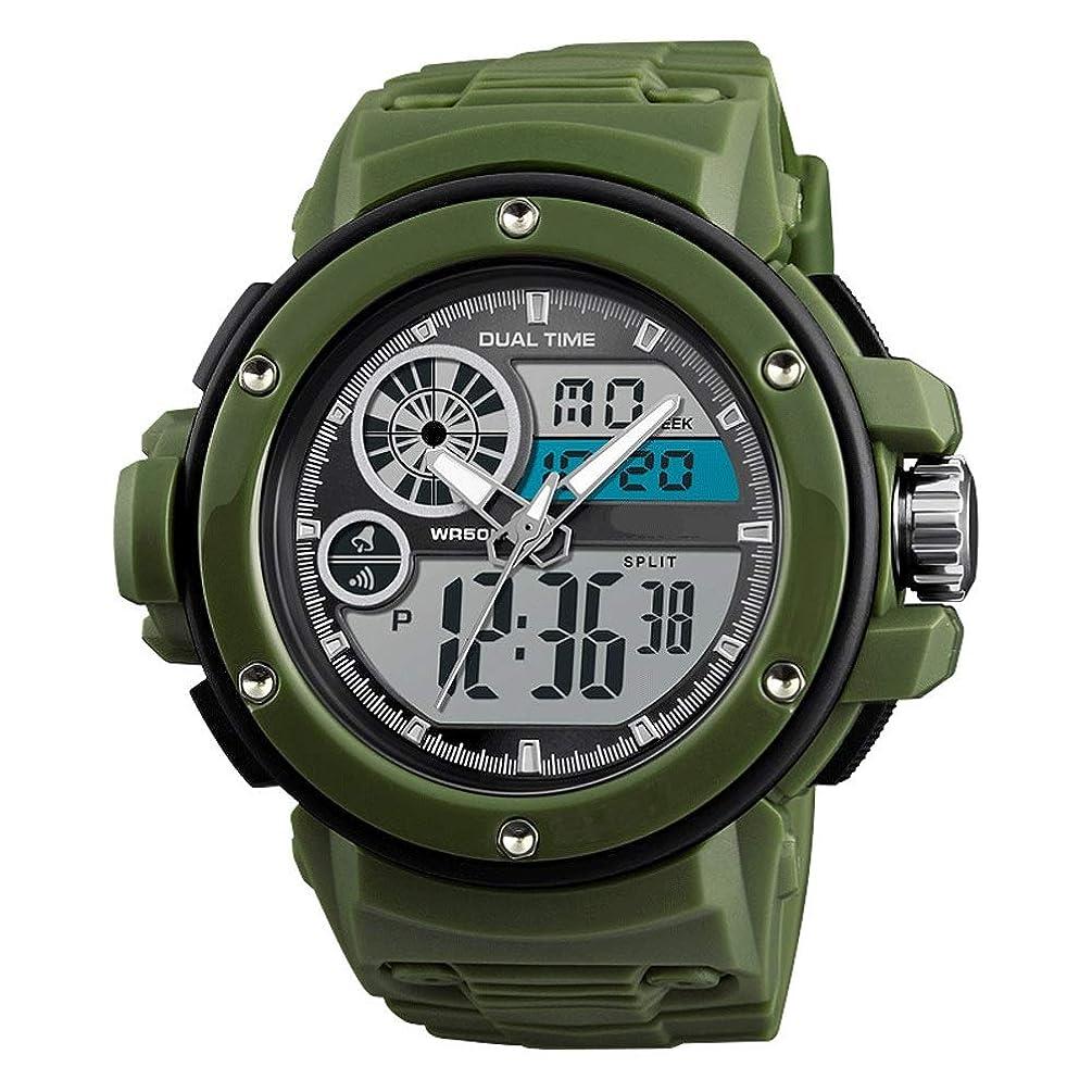 QAR Smart Watch Men's Outdoor Leisure Waterproof Electronic Sports Watch 30 Meters Waterproof Digital LED Smart Watch (Color : Green)